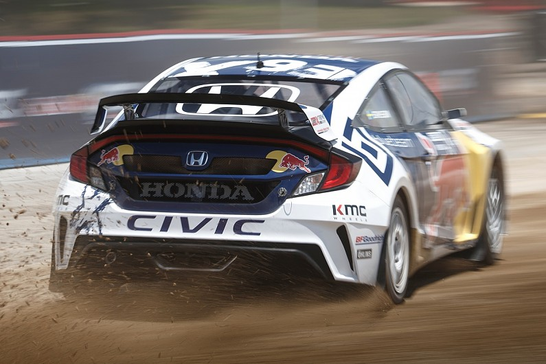 Jenson button tests honda civic rallycross car in america for Honda civic rx