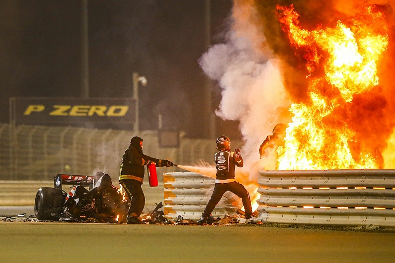 Romain Grosjean's Car Bursts Into Flames During F1 Crash