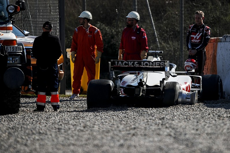 Haas explains cause of Magnussen Barcelona F1 testing tyre failure