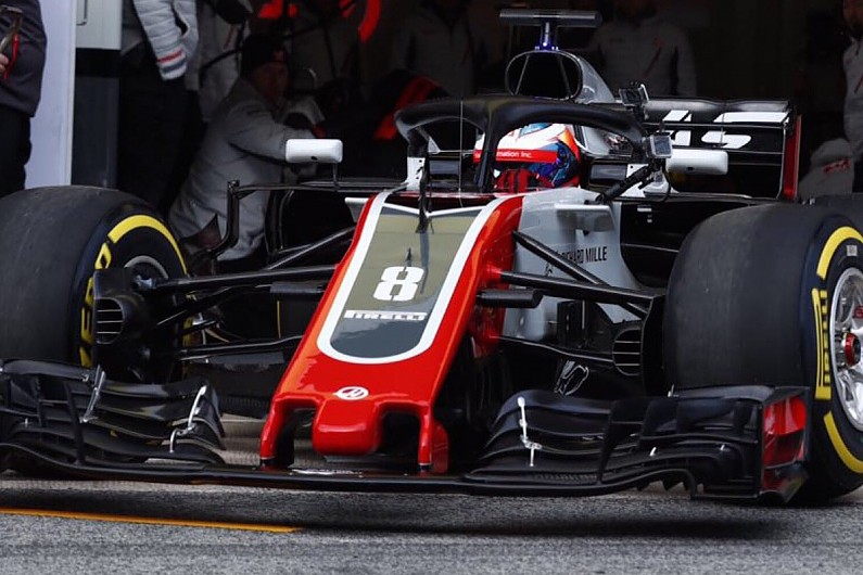 f1 testing 2018 haas 39 s grosjean sets barcelona test one pace target f1 autosport. Black Bedroom Furniture Sets. Home Design Ideas
