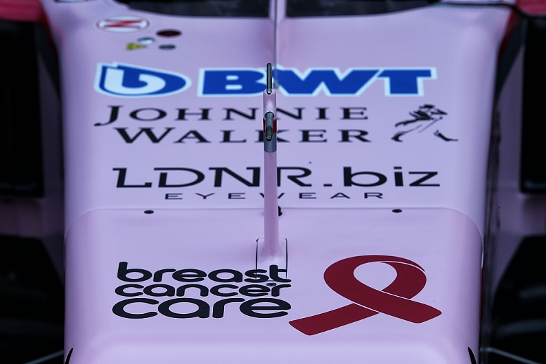Force India Formula 1 team adjusts livery for cancer charity - F1 ...