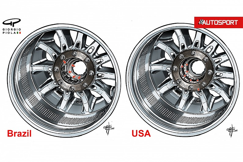 The latest tweaks to Mercedes' F1 wheel spacer design