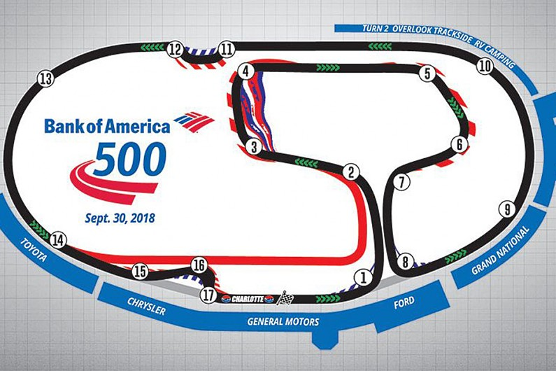 Changes made to make nascar charlotte 39 roval 39 10 15 for Map of charlotte motor speedway