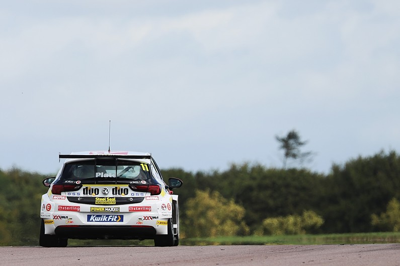 Vauxhall driver Jason Plato on top in Thruxton BTCC practice