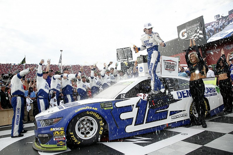 Talladega NASCAR: Ryan Blaney wins crash-strewn race for Penske