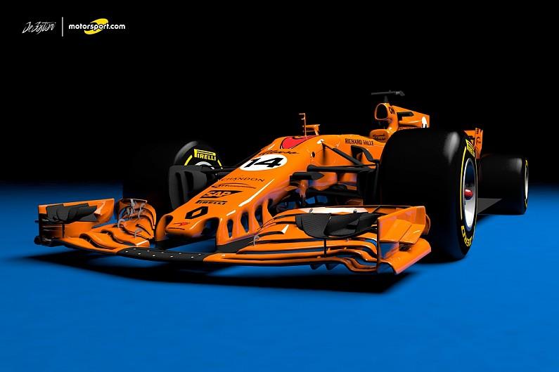 what a papaya orange 2018 mclaren-renault f1 car could look like